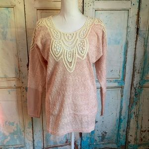 A'reve shimmering knit top crochet detail